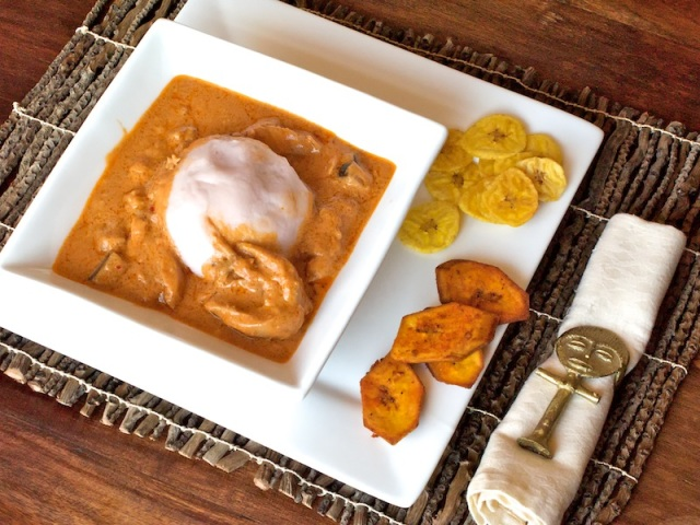 Ground-nut soup with fufu, and hot plaintain chips on the side. Picture: Salvelio Meyer