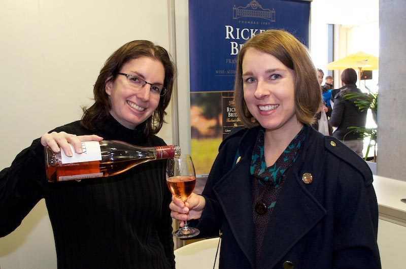 Yep, all her fault! Jackie Rabe (left), sales manager of Rickety Bridge with moi by now rather tipsy!